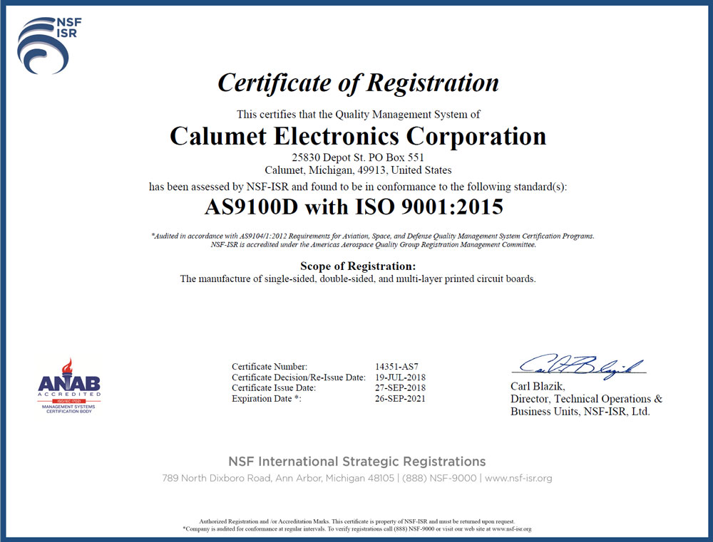 Calumet Electronics AS9100D with ISO 9001 certification
