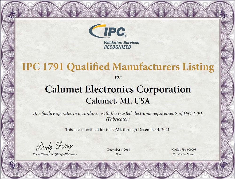 Calumet Electronics' IPC 1791 certification