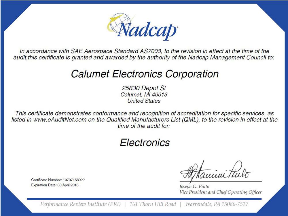 Calumet Electronics' Nadcap certification